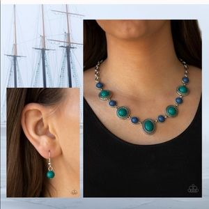 Blue, Teal Green and Silver Necklace Set